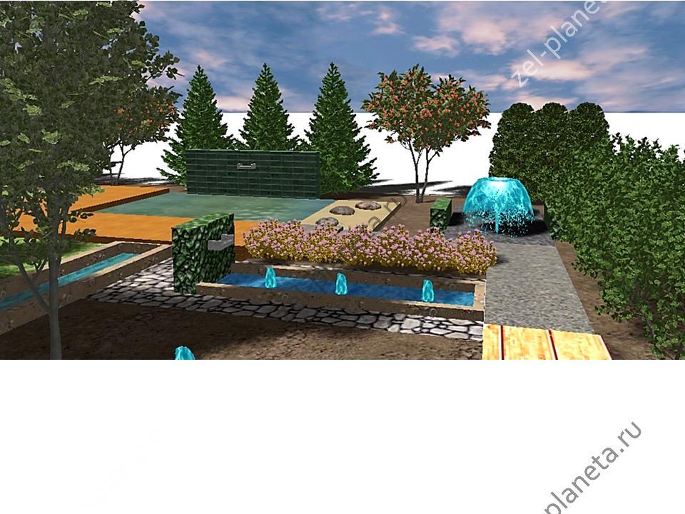 Дизайн с водными элементами на территории офиса